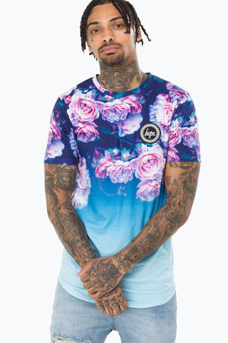 HYPE BLUE ROSE FADE DISHED MENS T-SHIRT