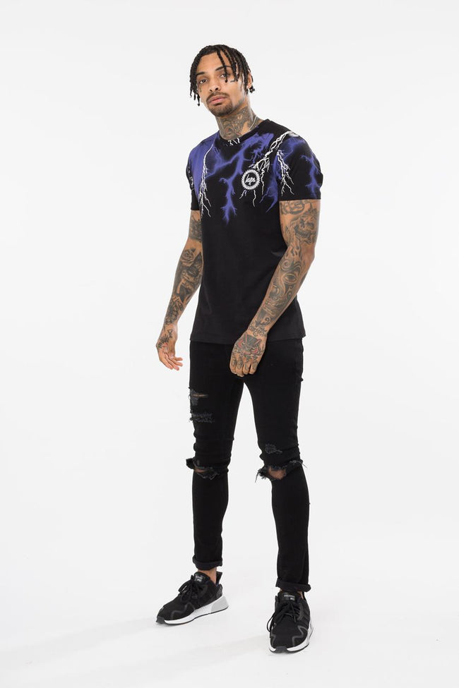 HYPE BLACK LIGHTNING NECK MENS T-SHIRT
