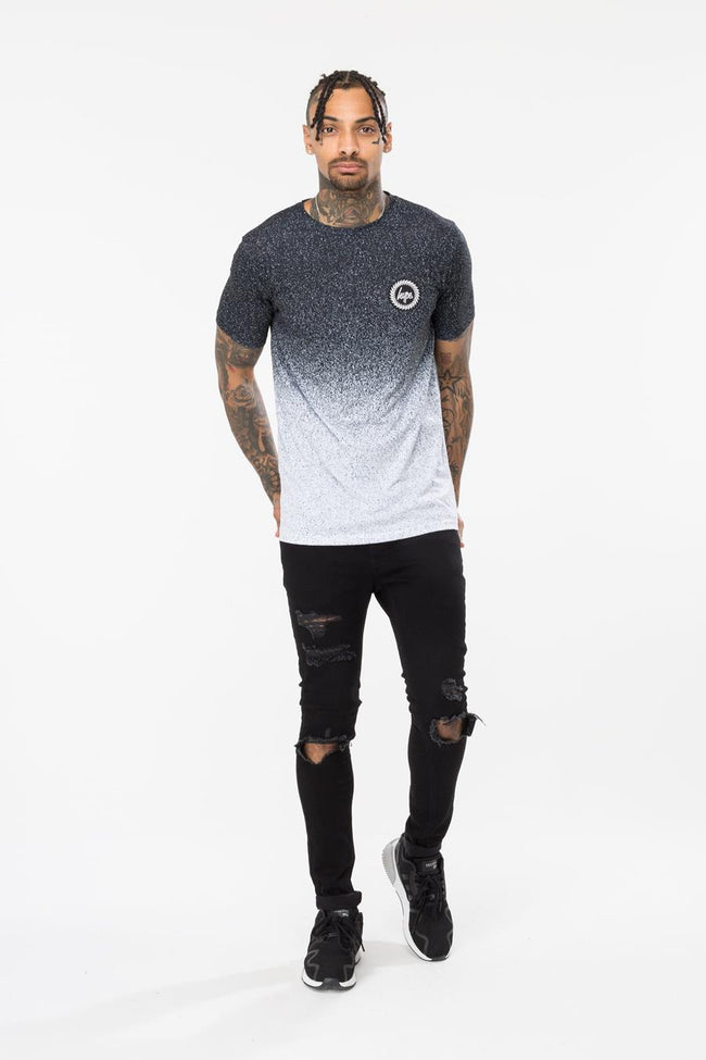 Hype Crest Black Speckle Fade Mens T-Shirt
