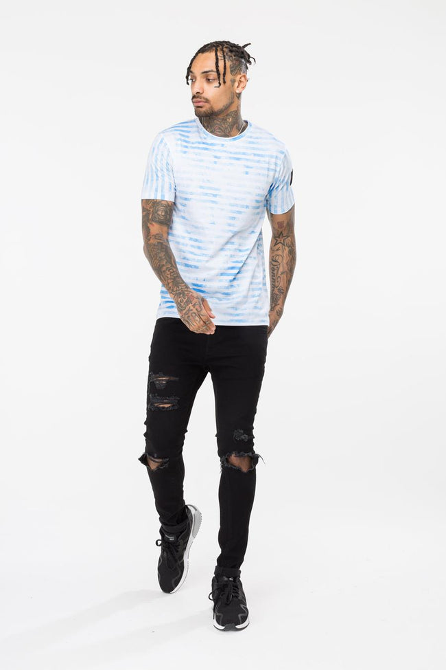HYPE WHITE CLOUD STRIPE MENS T-SHIRT