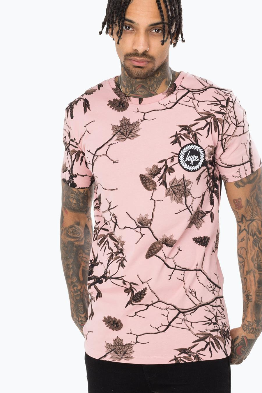 Hype Pink Real Camo Mens T-Shirt | Size XX-Small