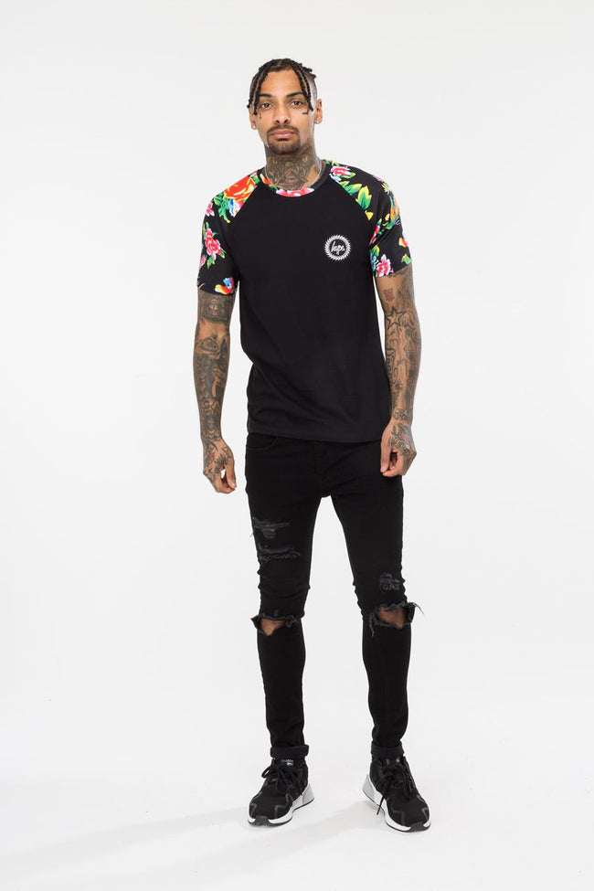 HYPE BLACK FLORAL RAGLAN MEN'S T-SHIRT