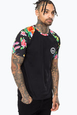 HYPE BLACK FLORAL RAGLAN MENS T-SHIRT