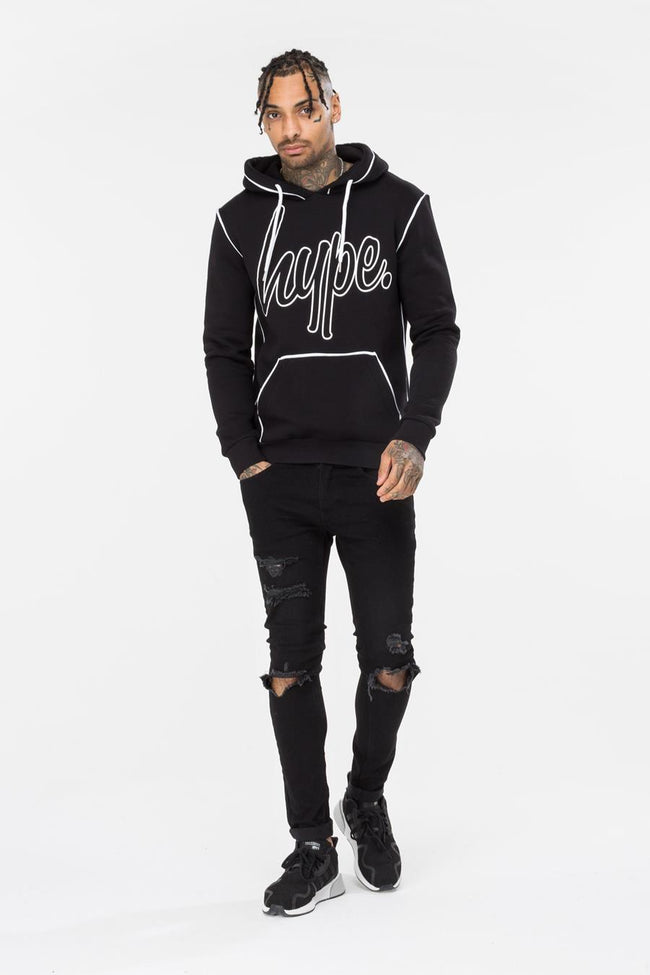 HYPE BLACK OUTLINE MENS PULLOVER HOODIE