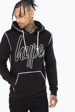 HYPE BLACK OUTLINE MEN'S PULLOVER HOODIE