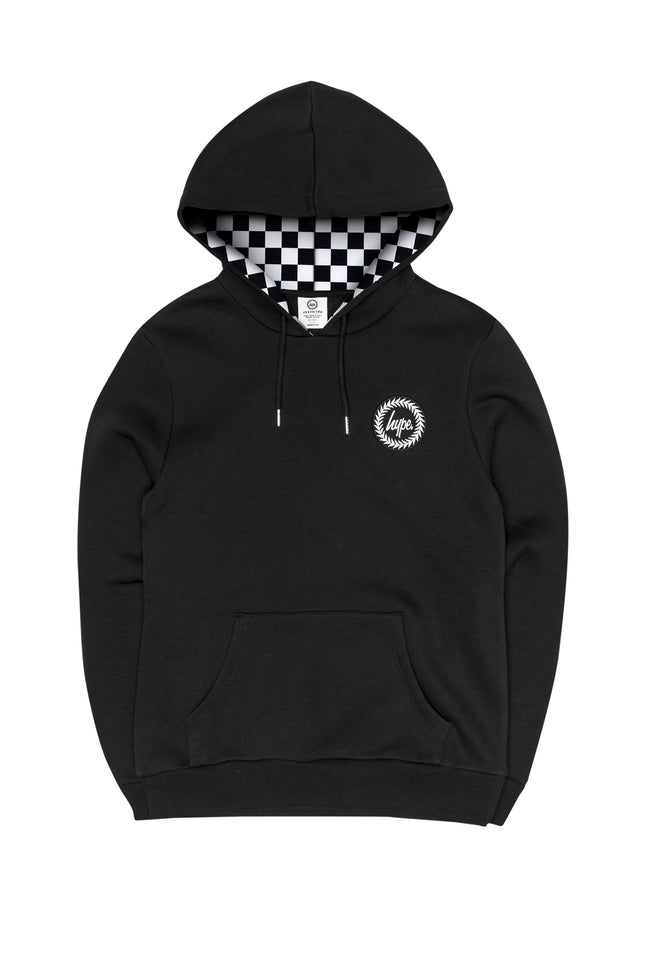 HYPE BLACK CHECK LINED MENS PULLOVER HOODIE