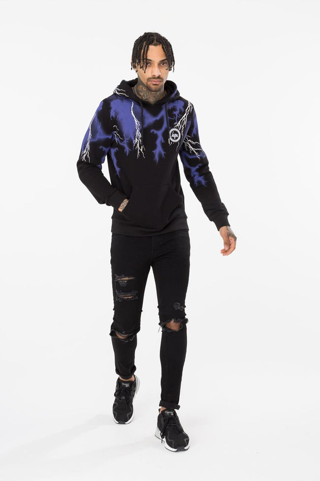 HYPE BLACK LIGHTNING NECK MEN'S PULLOVER HOODIE