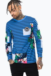 HYPE BLUE FLORAL PATCH MEN'S L/S T-SHIRT