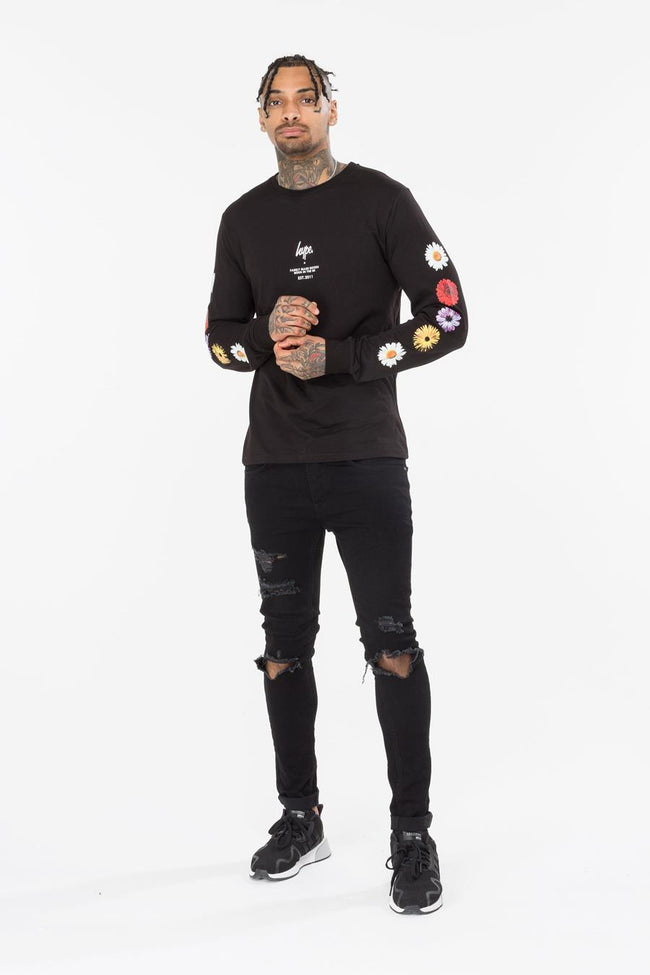 HYPE BLACK FLORAL ARM MENS L/S T-SHIRT