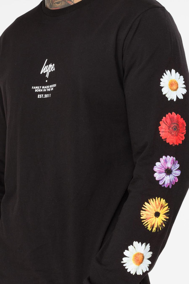 HYPE BLACK FLORAL ARM MEN'S L/S T-SHIRT