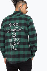 HYPE GREEN CHECK CAPITAL MEN'S L/S T-SHIRT