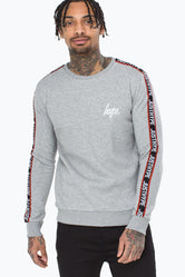 HYPE GREY TAYLOR TAPE MENS CREW NECK