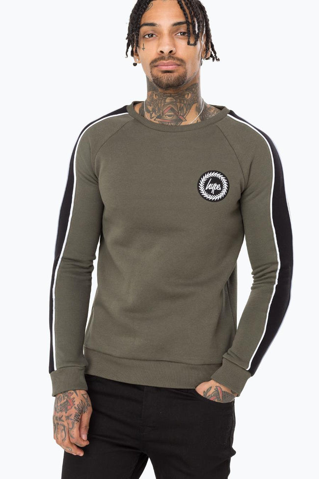 HYPE KHAKI STRIPE MENS CREWNECK