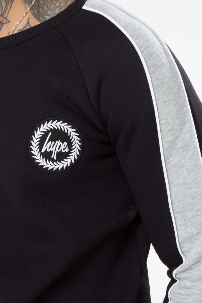 HYPE BLACK STRIPE MEN'S CREWNECK