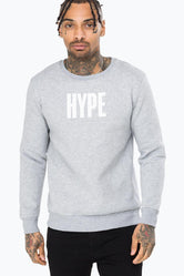 HYPE GREY BLOCK HYPE MENS CREW NECK