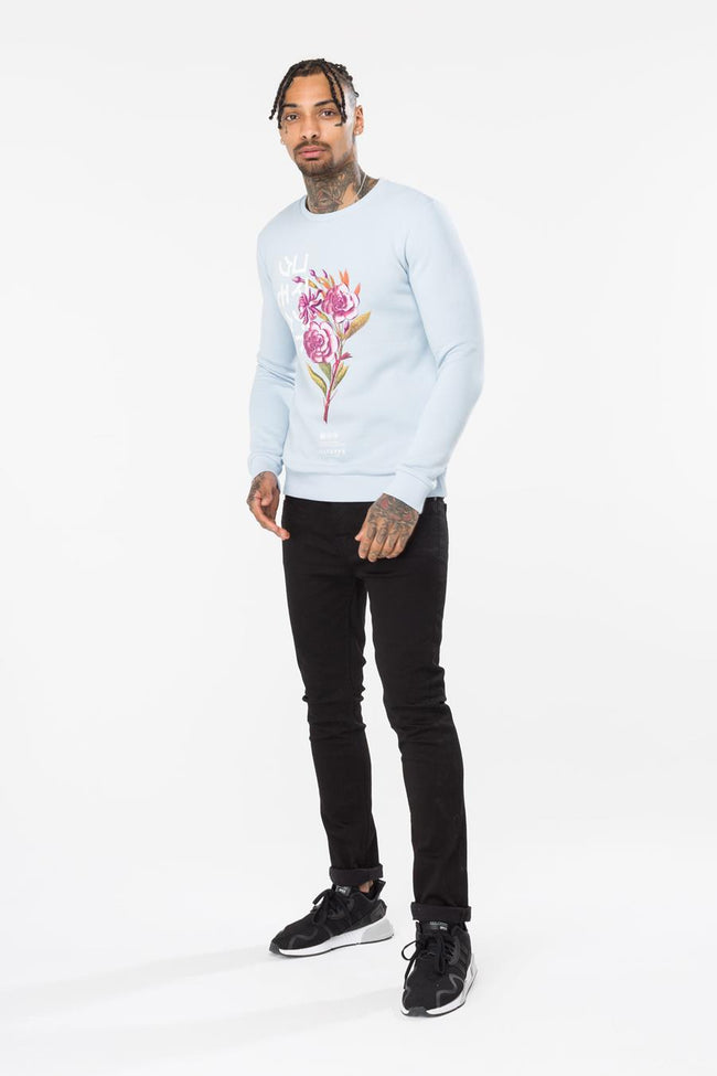 HYPE BLUE ORIENTAL BLOOM MEN'S CREWNECK