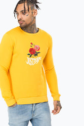 HYPE YELLOW WAVEY BLOSSOM MENS CREW NECK