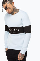HYPE GREY PIPING STRIPE MENS CREW NECK