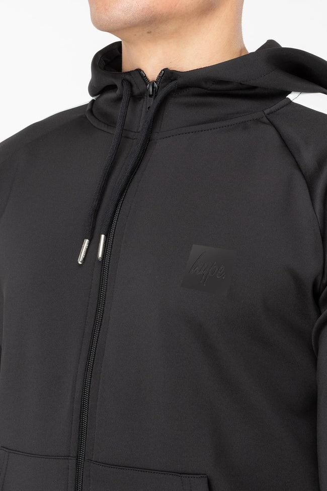 HYPE BLACK POLY STRIPE MENS ZIP HOODIE