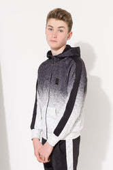 HYPE BLACK SPECKLE POLY STRIPE KIDS ZIP HOODIE
