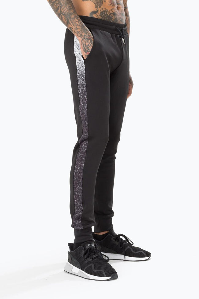 HYPE BLACK SPECKLE POLY STRIPE MENS JOGGERS