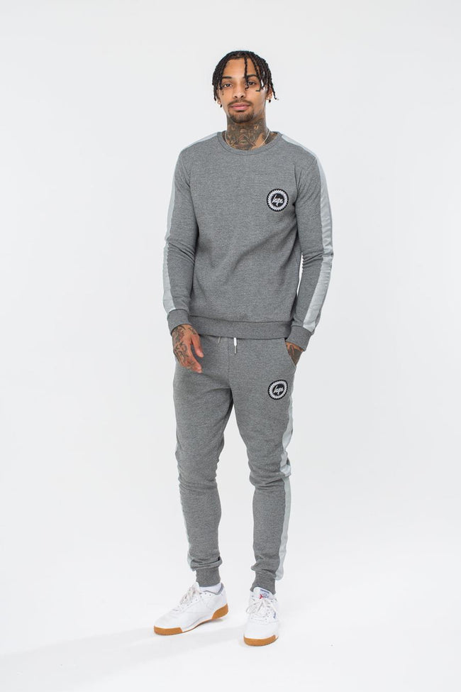 HYPE GREY STRIPE CREST MENS CREW NECK