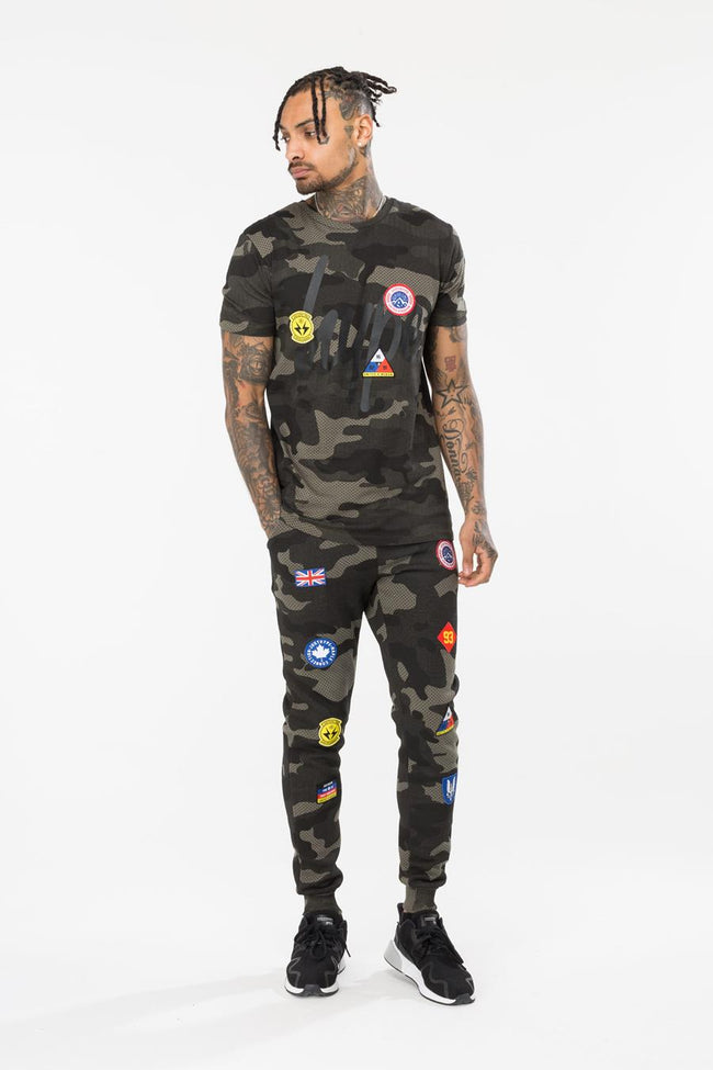 HYPE KHAKI CAMO PATCHES MENS JOGGERS