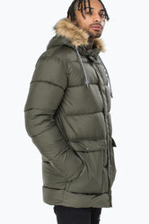 HYPE KHAKI EXPLORER MENS PUFFER JACKET