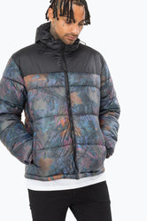 HYPE KHAKI LEAF MENS PUFFER JACKET