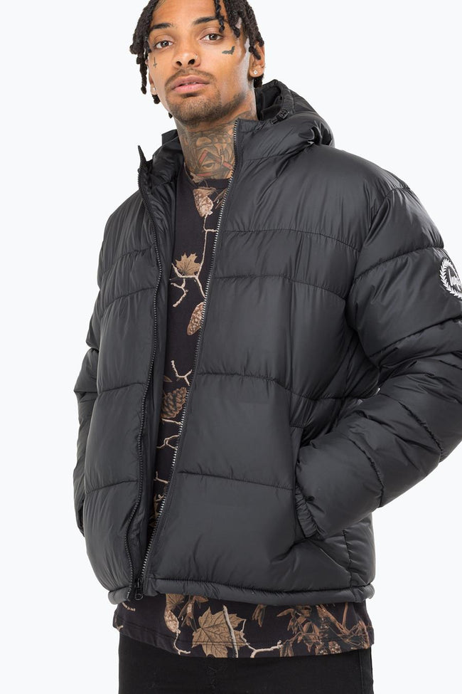 HYPE BLACK MONO MENS PUFFER JACKET