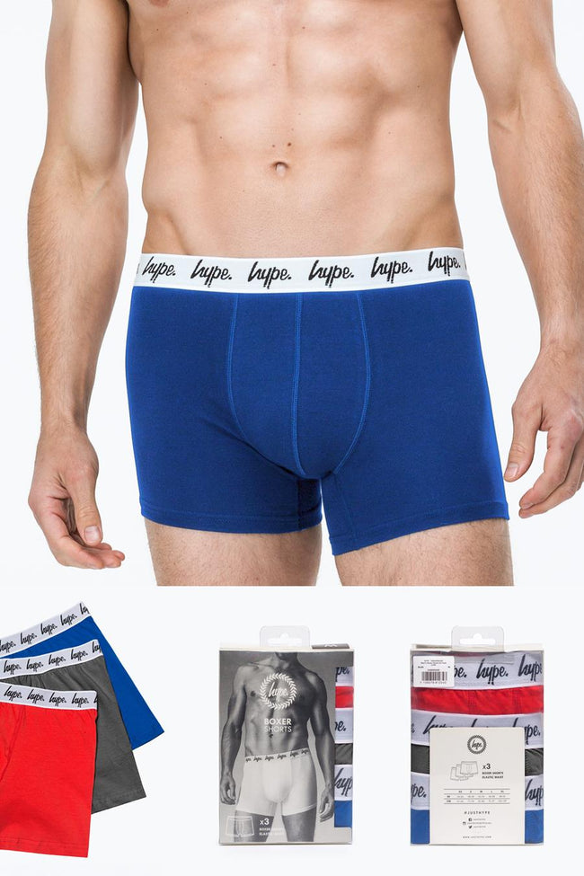 HYPE CHARCOAL CORE MENS BOXER SHORTS X3 PACK