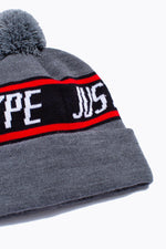 HYPE GREY SPORTING BOBBLE BEANIE HAT