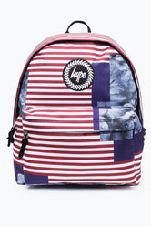 HYPE BURGUNDY ABSTRACT LEAF STRIPE BACKPACK