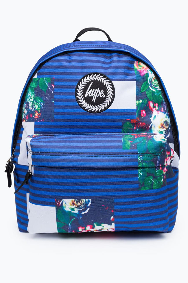 HYPE BLUE ABSTRACT FLORAL STRIPE BACKPACK