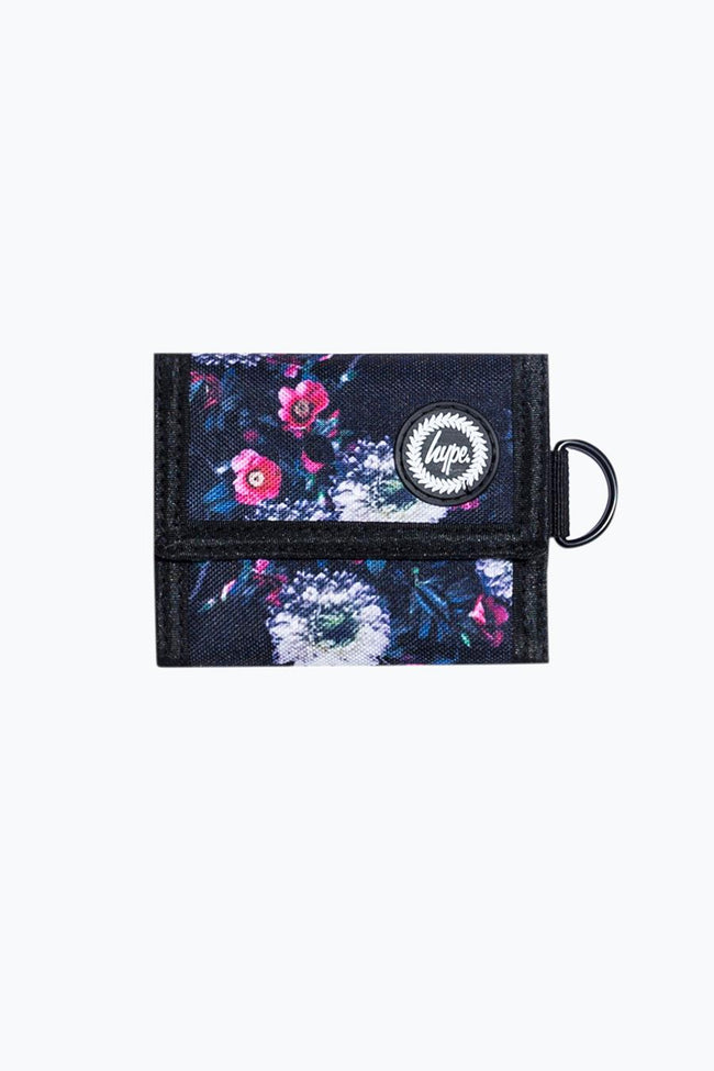 HYPE BLACK FLORAL PLACEMENT TRIFOLD WALLET
