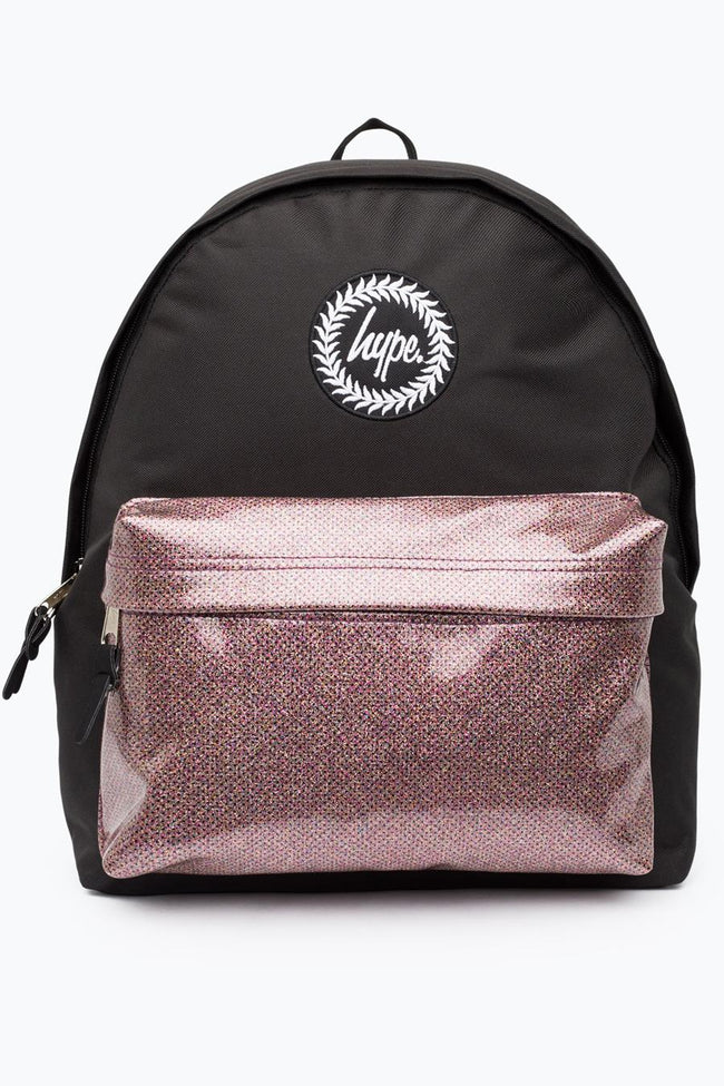 HYPE BLACK GLITTER POCKET BACKPACK