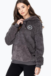 HYPE CHARCOAL SHERPA WOMEN'S PULLOVER HOODIE