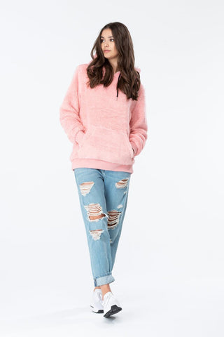 HYPE PINK SHERPA WOMENS PULLOVER HOODIE