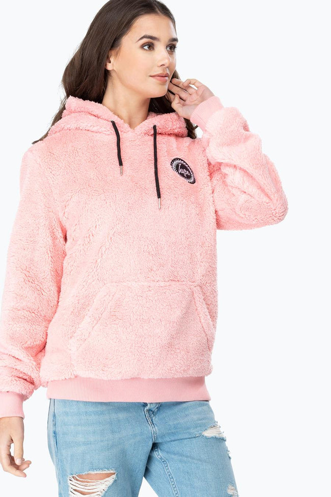 HYPE PINK SHERPA WOMEN'S PULLOVER HOODIE