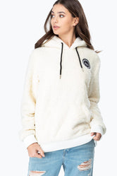 HYPE WHITE SHERPA WOMENS PULLOVER HOODIE