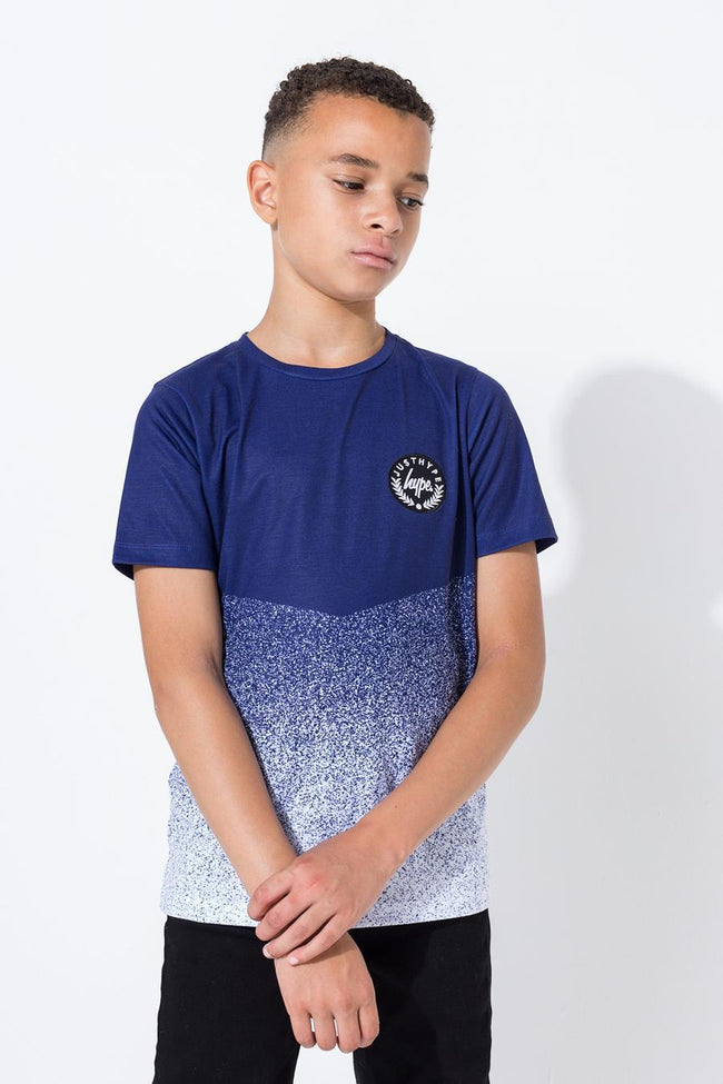 HYPE NAVY SPECKLE CHEVRON KIDS T-SHIRT