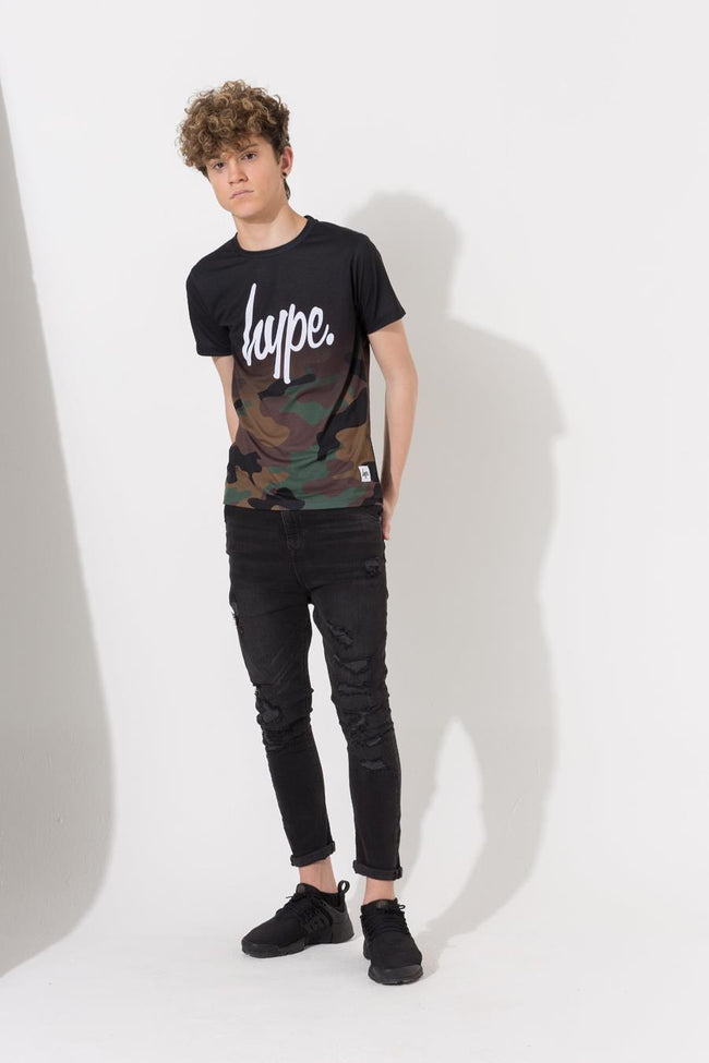 HYPE BLACK CAMO FADE KIDS T-SHIRT