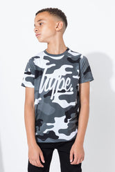 HYPE BLACK MONO CAMO KIDS T-SHIRT