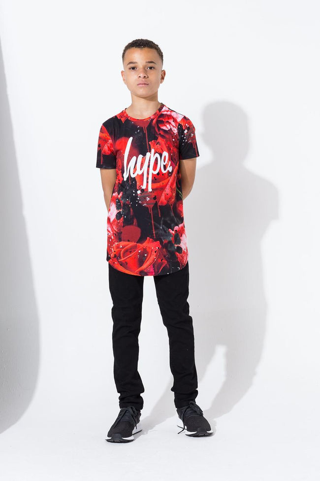HYPE RED ROSE SPLAT KIDS T-SHIRT
