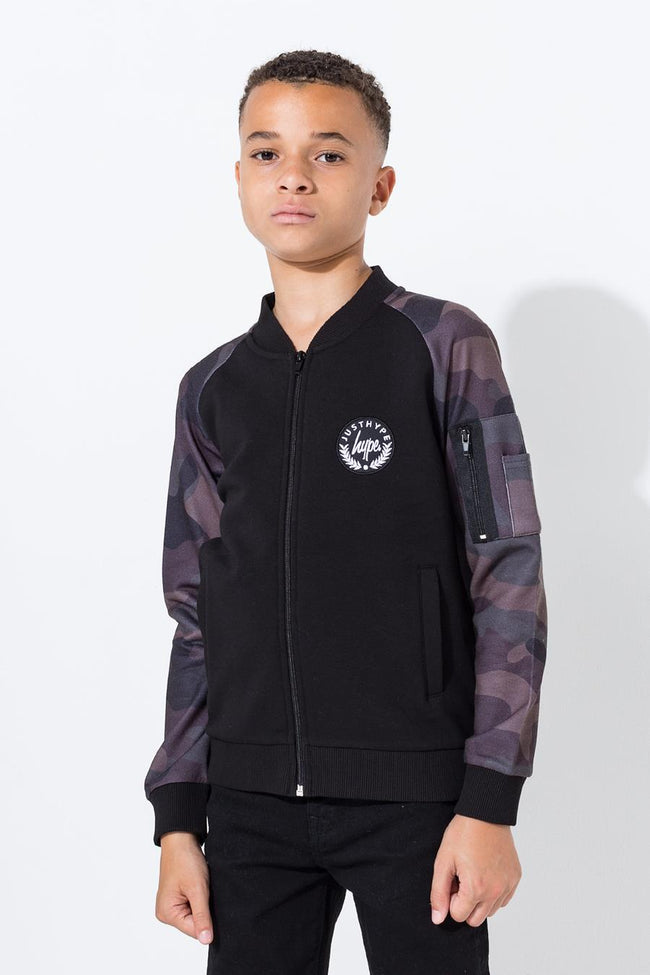 HYPE BLACK CAMO CREST KIDS BOMBER JACKET