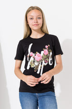 HYPE BLACK BUTTERFLY ROSE KIDS T-SHIRT