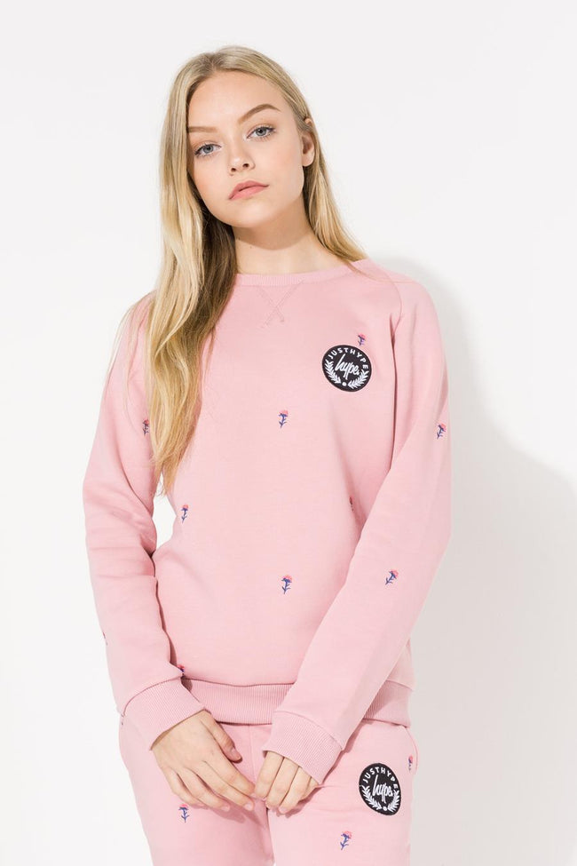 HYPE PINK DITSY FLORAL KIDS CREW NECK