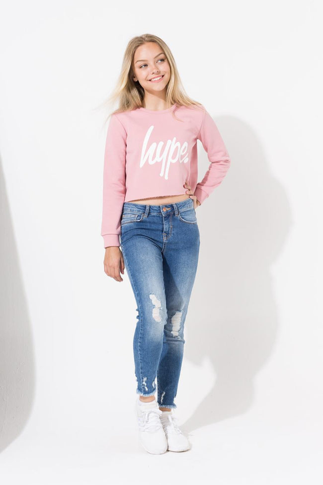 HYPE PINK RAW EDGE SCRIPT KIDS CROP CREWNECK