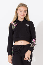 HYPE BLACK BUTTERFLY ROSE KIDS CROP HOODIE