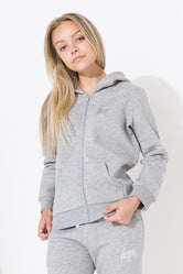 HYPE GREY IRIDESCENT MINI SCRIPT KIDS ZIP HOODIE
